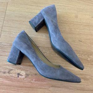 Gray suede like block heel pumps